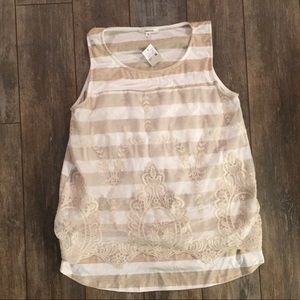 Maurices striped lace tank top